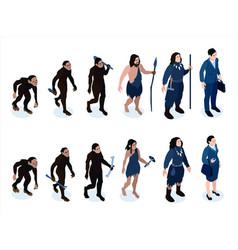isometric human evolution set vector image