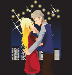 Kissing young couple vector