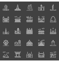 Landmark linear icons vector