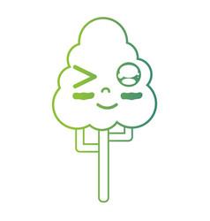 line kawaii cute happy natural tree vector image
