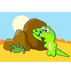 Lizard near the stone vector