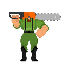 Lumberjack with chainsaw isolated woodcutter vector