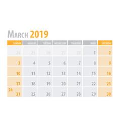 march calendar planner 2019 in clean minimal vector image