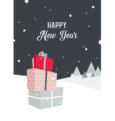 merry christmas card with outdoor winter scene and vector image