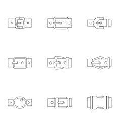 Metal belt buckle icon set outline style vector