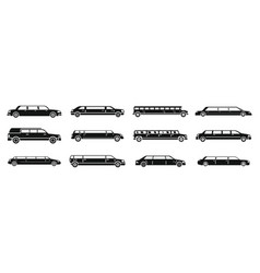 modern limousine icons set simple style vector image