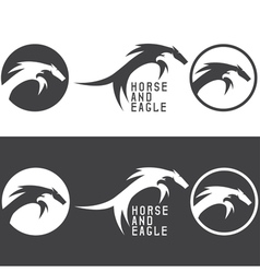 negative space concept with eagle and horse vector image