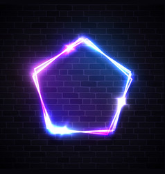 neon light pentagon background with blank space vector image