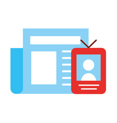 newspaper radio video broadcast breaking news vector image