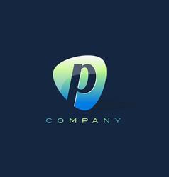P letter logo oval shape modern design vector