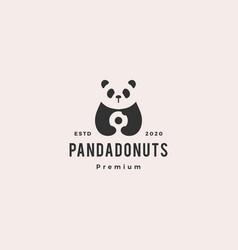panda donuts logo hipster vintage retro icon vector image