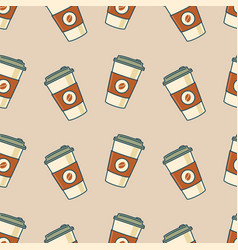 Paper coffee cups seamless pattern vector