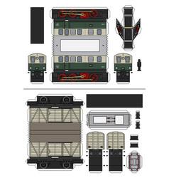 paper model a vintage electric train vector image