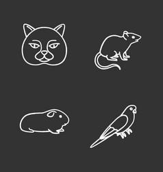 pets chalk icons set vector image