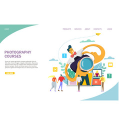 Photography courses website landing page vector