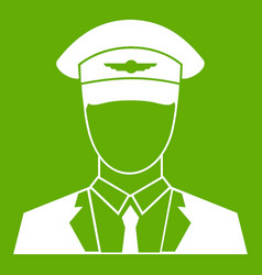 Pilot icon green vector