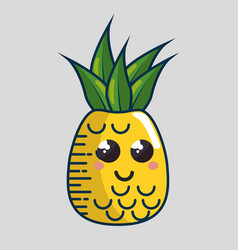 pineapple fresh fruit character handmade drawn vector image