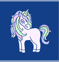 pink unicorn with yellow horn icon on the navy vector image
