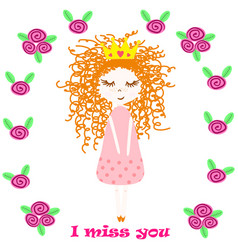 poster with princess and flowers vector image