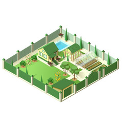 Private house yard with plot land behind high vector