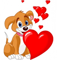 puppy with red heart vector image