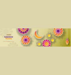 ramadan kareem concept horizontal banner with vector image