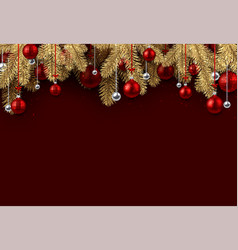Red christmas background with spruce branches vector