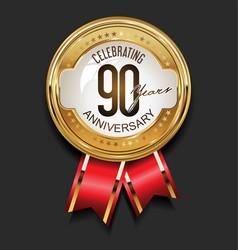 retro vintage style anniversary golden design 90 vector image