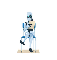 Robot sit on chair hold resume wait job interview vector