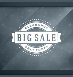 Sale sticker label design on window background vector