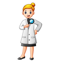 scientists woman in lab coats holding a magnifying vector image