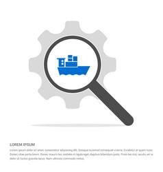 Sea ship icon search glass with gear symbol icon vector
