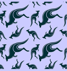 seamless pattern with jumping kangaroo vector image