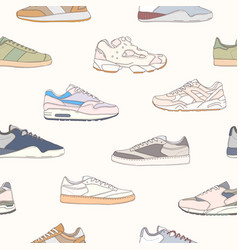 seamless pattern with trendy trainer shoes vector image
