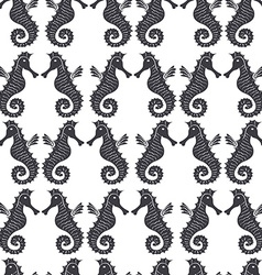 Seamless sea pattern with black sea horses on a vector image