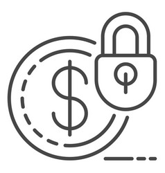 Secured money icon outline style vector
