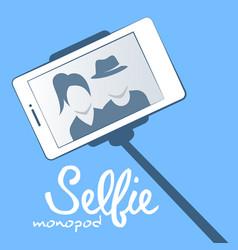 selfie monopod on blue background vector image