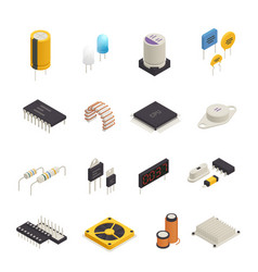 Semiconductor electronic components isometric set vector