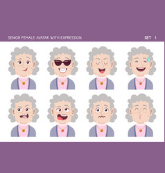 Senior woman avatar with expressions vector