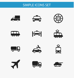 Set of 12 editable shipment icons includes vector