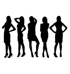 set of attractive woman silhouette vector image