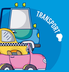 Set of cartoons vehicles vector