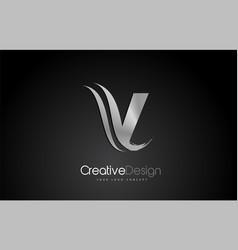 Silver metal v letter design brush paint stroke vector