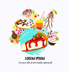 sweet desserts on white place for text vector image