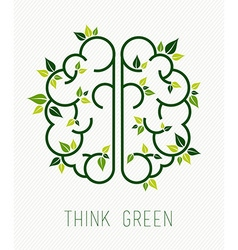Think green human brain concept with leaf vector image
