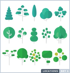 Tree Flat Icon Set vector image