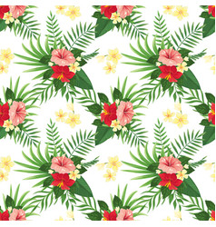 tropical flowers seamless pattern summer tropic vector image