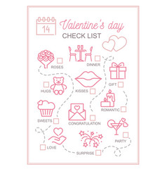 vertical printable checklist for valentine s day vector image