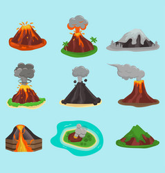 volcano set vector image