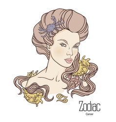 Zodiac of cancer as girl with vector